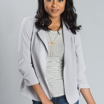 Nellie Grey Shirred Blazer