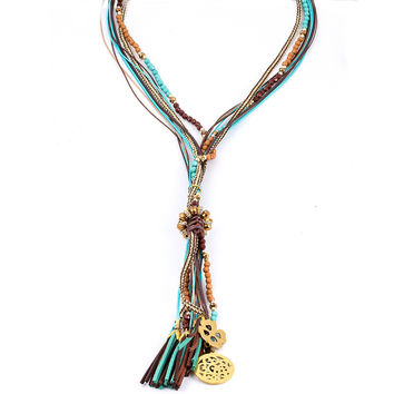 Vintage Layered Turquoise Leather Clavicle Chain Bohemian Beaded Tassel Pendant Necklaces Peace Mark Flowers Necklace Jewelry