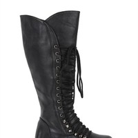 Tall Flat Combat Boot with Lace Up Front