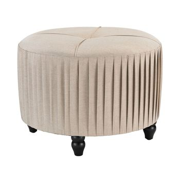 Pleated Ottoman in Natural Linen Natural Linen