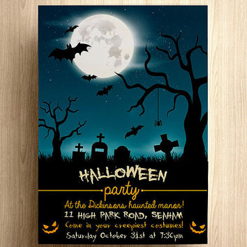 Halloween party invite, Halloween party invitation, halloween, halloween party, halloween party invite, graveyard, halloween, bats, scary