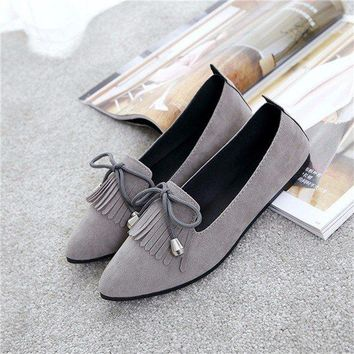 Tassel Bowknot Slip On Flat Suede Casual Light Shoes