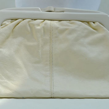 Leather Clutch Purse, Clutch Bag, Leather Clutch, EATON'S Clutch, Italian Clutch, Clutch Purse, Purse, Cream Clutch, Cream Purse, 1960's Bag