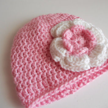 Crochet baby hat, baby girl hat, newborn beanie, pink hat, photo prop, pink crochet baby girl hat. Listing for one hat, size of your choice