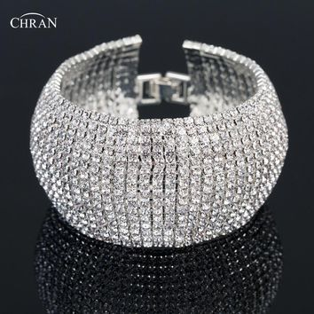 Chran Dazzling Bridal Wedding Bracelet Bangle Rhinestone Crystal Wide Chain Bracelet Bridemaid Wedding Jewelry Gifts CRB706