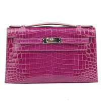 Hermes Kelly Pochette Violet in Niloticus Shiny Crocodile with Silver HDW