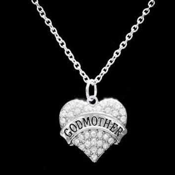 Godmother Crystal Heart Gift Charm Necklace