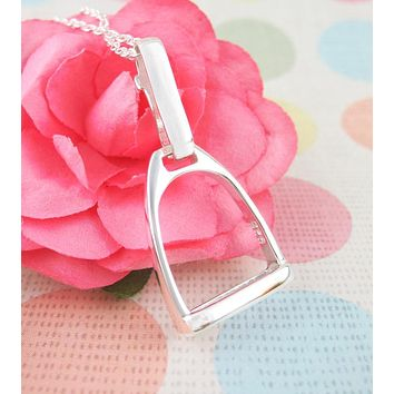 Horse Lover's Miniature English Stirrup Necklace