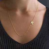 14K Solid Gold Sideway Initial Necklace - Personalized Initial Necklace - Personalized Bridesmaid Gift - Gold Letter Necklace - Gift for her