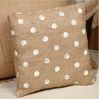 Vintage Polka Dots French Flea Market Burlap Accent Throw Pillow 8-in x 8-in