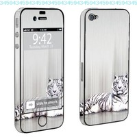 Apple iPhone 4 or 4s Full Body Decal Vinyl Skin - White Tiger By SkinGuardz:Amazon:Cell Phones & Accessories