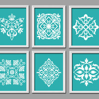 Set of 6 Turquoise White Ornament Design Pattern Prints Wall Decor Abstract Art Bedroom Picture French Country