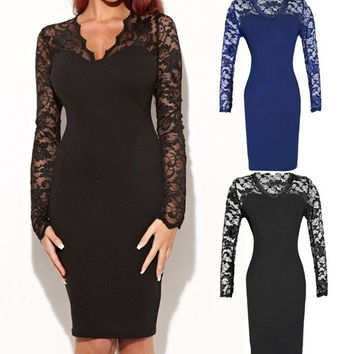 lady sexy lace slim dress clubwear evening party dress cocktail ball gown long sleeve Deep V-neck = 1705274372