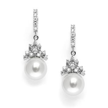 Cubic Zirconia Bridal Earrings with Pearl