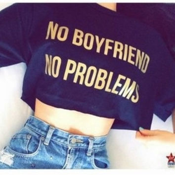 Funny Letter Printed Street Fashion Cute Crop Tops Casual Tshirts for Girls Women (Size: One Size, Color: Black) = 5698892609
