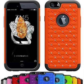 GIRLY iPhone 6s / 6 Plus (5.5 Inch) Crystal Studded Defender Cases by VALLT, Hybrid Dual Layer Rhinestone Bling Protective Case Cover for Apple I Phone - Lifetime Guarantee (Orange Soda)
