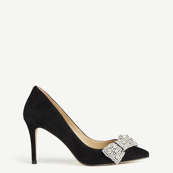 Wynn Jeweled Bow Suede Pumps | Ann Taylor