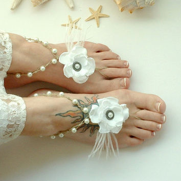 White Wedding Barefoot Sandals Beach Jewelry by MoJosFreeSpirit
