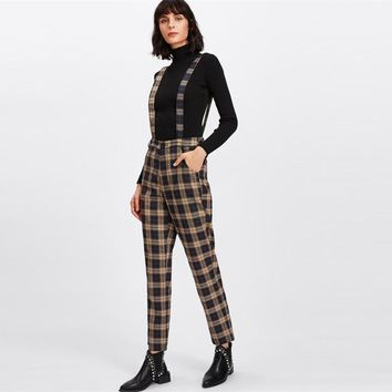 High Waisted Plaid Suspended Trouser