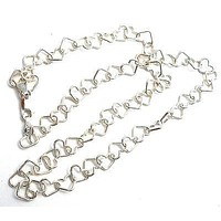 Sterling Silver Heart Link Chain Necklace 16""