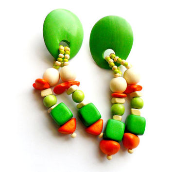 Vintage Chunky Wood Dangle Earrings Pierced Beaded Wooden Beads Tropical Lime Green Orange Boho Earthy Style