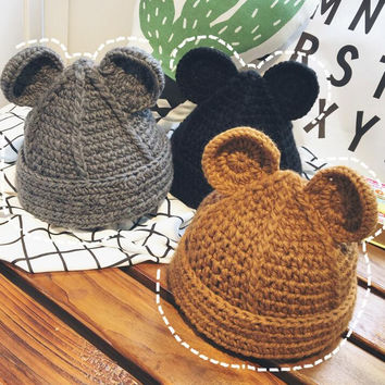 Handmade Bear Shape Knit Thick Slouch Beanie Winter Warm Cap Hat - Gift -67