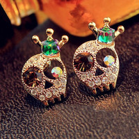 Rhinestone Skull Head with Crown Earrings
