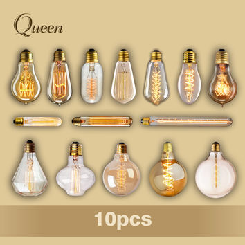 10pcs Lampada Edison Bulb Lamp Light Vintage Socket 40W Outdoor Lighting Filament 220V Bulb Rope Pendant Lamp Retro Luminaria