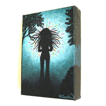 Girl in the Garden - black silhouette of a girl who has found something magical - small acrylic painting