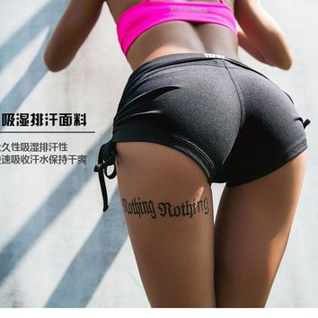 New Arrival Female Sports Shorts Women's Yoga Shorts Lift Hips Lace Up Running Athletic Sport Fitness Clothes Jogging