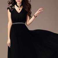 Crochet Lace Sleeve V-Neck Chiffon Empire Dress