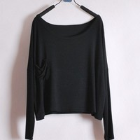 *Free Shipping* Ladies Black Cotton T-Shirt Top One Size T012b from efoxcity