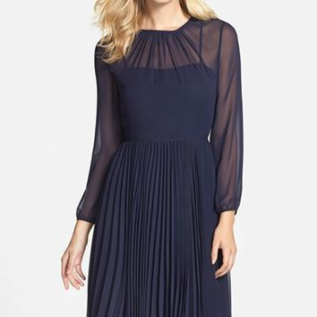 Women's Eliza J Pleated Chiffon Fit & Flare Dress,