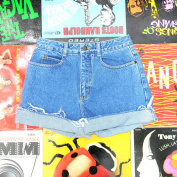 High Waisted Denim Shorts - 90s Light Acid Wash TALBOTS Blue Jean Shorts - Frayed, Rolled Up, Naturally Distressed Shorts Size 4 6 S Small