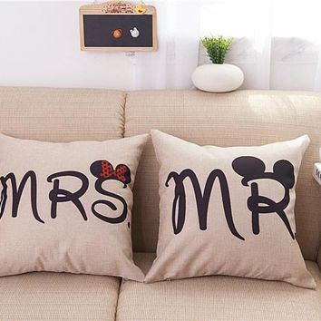 MR and MRS Pillowcases Romantic Pillow Case cover for Him or Her Romantic Anniversary Wedding Valentine's Gift