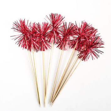 Red Tinsel Drink Stirrers - 25 Sparkle Swizzle Sticks - Valentine's Day Decor // Wedding Stir Sticks // Cocktail Stir Sticks