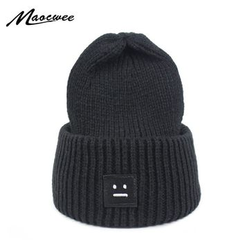 2018 Winter Women Knitting Hat Beanie Casual Thick Solid color Warm Cap Smiling Face Pattern Knitted Hip hop Hat Male Female