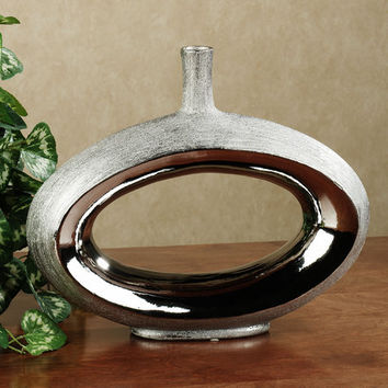 Silver Infinity Ceramic Contemporary Vase