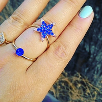 Knuckle Ring Gold plated double ring with crystal star Adjustable Star Rings US Ring Sizes 6 - 10