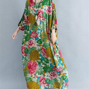 Long Maxi Loose Floral Caftan Cotton Dress