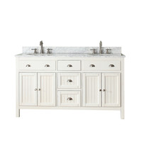 Shop Avanity Hamilton French White Undermount Double Sink Poplar Bathroom Vanity with Natural Marble Top (Common: 61-in x 22-in; Actual: 61-in x 22-in) at Lowes.com