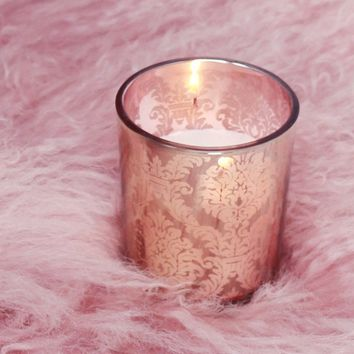"""David Tutera Pink Gold Candle Holders with Gold Damask Pattern - 2.5"""" Tall x 2.25"""" Wide"""