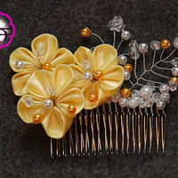 Bridal hair accessory , yellow flowers , Kanzashi flowers , wedding hair accessory , prom hair piece , bridesmaid hair piece , hair flower