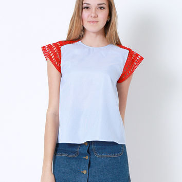Bringing Back The Sunshine Top - Blue/Red