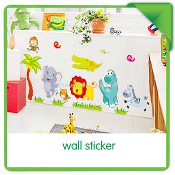 Three generations of removable wall stickers children's room baby nursery room decor happy zoo SM6