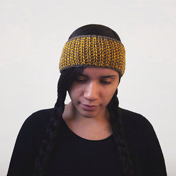 hand knit wool-free striped taupe and gold headband or earwarmer