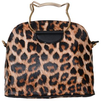 Leopard Print Vegan Leather Cat Shaped Top Handle Crossbody Purse