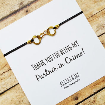 Partner in Crime Handcuff Friendship Bracelet and Card | Thank You For Being My Partner in Crime | BFF, Best Friend, Friendship Gift Jewelry