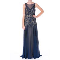 Sue Wong Womens Chiffon Embellished Semi-Formal Dress