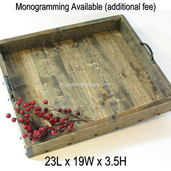 Ottoman Tray XL Wood Coffee Table Tray Dry Use Serving Tray Wedding Gift, Anniversary Gift, Housewarming Gift Custom Monogramming Available
